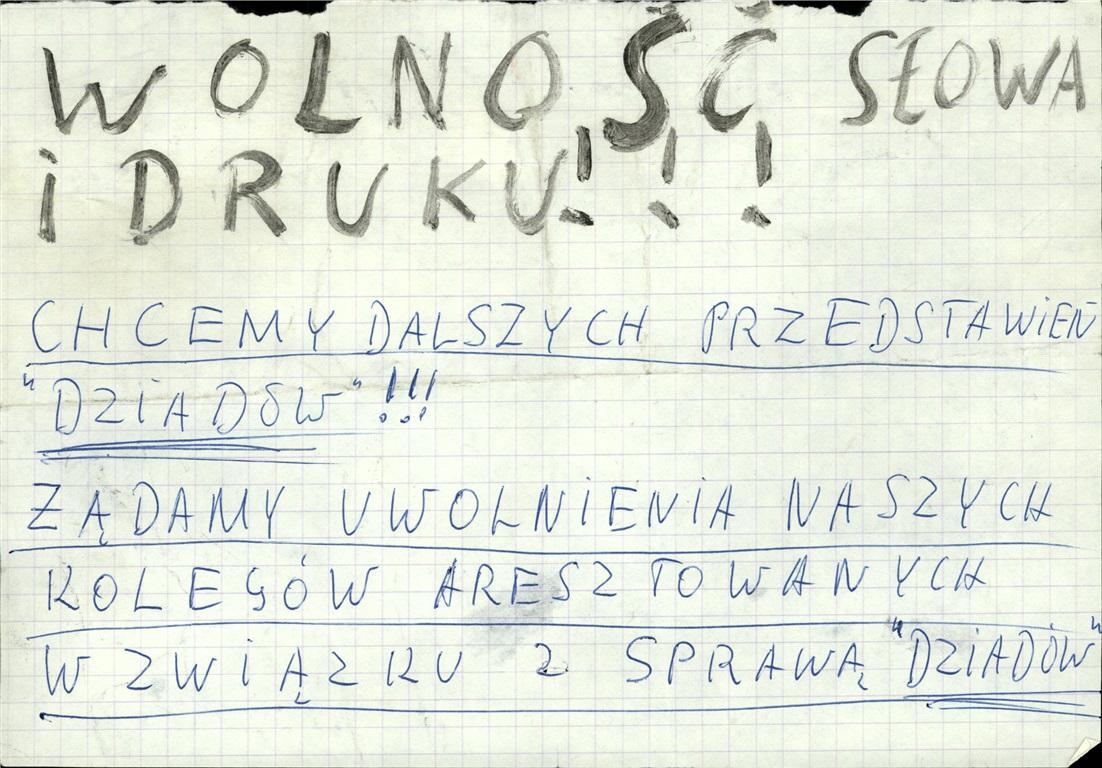 Student leaflet, 1968, Photo: IPN