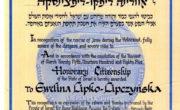 Honorowe obywatelstwo Izraela dla Eweliny Lipko-Lipczyńskiej